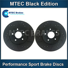 Alfa Romeo 159 2.4 JTD 06-06 Front Brake Discs Drilled Grooved Mtec BlackEdition