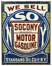 We Sell Socony Motor Gasoline Tin Metal Sign Standard Oil Co NY Gas Garage