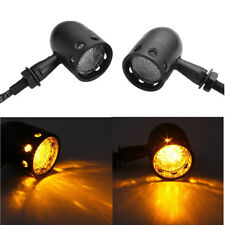 Black metal Amber LED Black Retro  Running Turn Signal Tail Light For Motorcycle