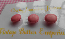 3 Small Candy Pink Shank Vintage Art Deco Buttons 10mm Craft Sewing