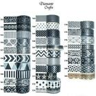 Washi Tape Decorative Masking Adhesive Paper Craft Trim - Black & Whites