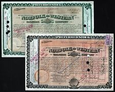 2x Norfolk and Western Railroad Company 1888 & 1889