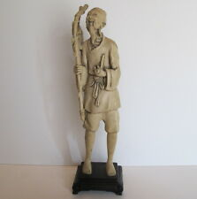 """Large Vintage Asian Chinese Ivory Color Fisherman Statue Figurine 15.7"""" tall"""