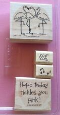 Stampin Up TICKLED PINK FLAMINGOS FLOWER BIRTHDAY MUSIC NOTES Rubber Set PARTIAL