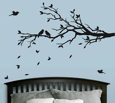 MATTE Tree Branch with 10 birds Wall Decal Deco Art Sticker Mural in BLACK