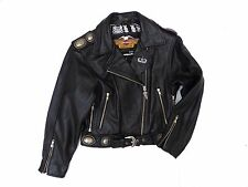 HARLEY DAVIDSON MOTORCYCLE WOMEN'S LEATHER BLACK BIKER RIDING JACKET SMALL S SW