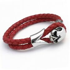 Tribal Steel Red Leather & Stainless Steel Skull Bracelet, 19cm [T300]