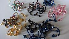 SET 10 x Spiralen Twister eloxiert 1,2 mm LIPPE OHR Ball 3 -4 mm lip 8 -11 mm