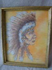 VTG Original Colored Pencil Drawing Native American Man in Headress Signed 71608