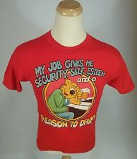 Vintage 70s 80s Beer Drinking Funny Quote Comedy Work T Shirt Small Red Bear Bar