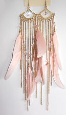 Forever 21 Beautiful Beads+ Nude Tone Natural Feather Earrings-UK Seller~