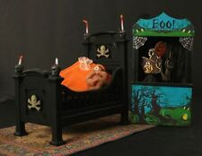Doll House Halloween Baby's Room Furniture with OOAK Polymer Clay Baby Boy Doll