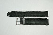 16mm Leder Marken Uhrenarmband in Schwarz mit Dornschließe weiße Naht Neu