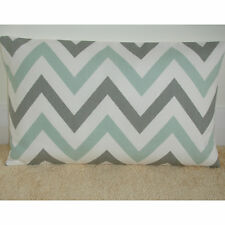 """NEW 20""""x12"""" Oblong Bolster Cushion Cover Duck Egg and Grey Zig Zag Zags Chevrons"""