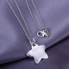 "Wholesale 925Sterling Silver Jewelry Thick Star Pendant Woman Necklace 18"" PY032"