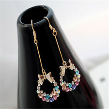 Korean Style Gold Plated Colorful Crystal Rhinestone Bow Bowknot Dangle Earring