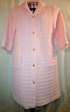 VTG Pink Quilted Maxi Lounging Robe Dressing Gown Nightgown Negligee Housecoat S