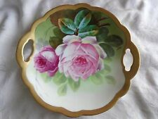 ANTIQUE LIMOGES FRANCE HAND PAINTED ARTIST SIGNED PINK ROSES FLORAL CAKE PLATE