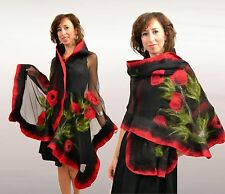 Bouquet of poppies, silk shawl, scarf, merino wool, nuno felted clothes, gift