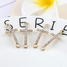 10pcs Gold Cross Beads Connector Rhinestones DIY Bracelet Findings 27*11mm