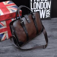 Leather Men Briefcase Business Laptop Handbag Shoulder Messenger Bag Brown Tote