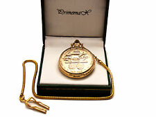 "PRIMEMAX:""COLUMBUS SHIP 500TH ANNIVERSARY"" POCKET WATCH,GOLD FINISH,WITH CHAIN"
