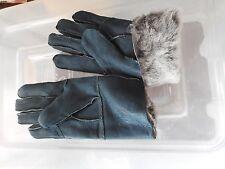 dark green ladies women 100% genuine real leather sheepskin gloves mittens