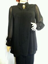 Size 12 Steampunk Victorian goth black high neck blouse & cameo brooch FREE P&P