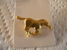 NEW ON CARD, RUNNING HORSE PIN TIE, LAPEL OR HAT PIN GOLD COLOR