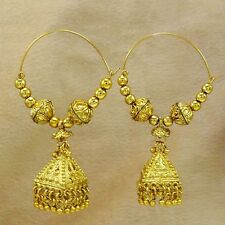 Goldplated Traditional Jhumka Bali Wedding Bridal Hoop Earrings Set Jewelry