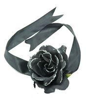 CHARCOAL BLACK ROSE FLORAL HAIR TIE W RIBBON AND GLITTER EDGED PETALS (ZX52)
