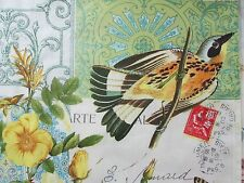 French Inspired Window Valances Toppers  Postmarks & Birds Pair  Custom Sewn