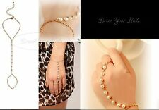 Chain Bracelet with Chain Finger  Ring Pearl Harness Costume Jewelry Wedding