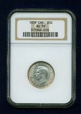 CANADA  GEORGE VI  1939  25 CENTS COIN, ALMOST UNCIRCULATED, NGC CERTIFIED, AU58