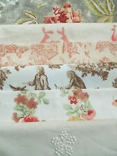 New/ vintage toile de jouy/O&L/Linen fabric bundle 6 pieces patchwork crafts