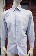 "Brioni Blue & White Double Cuff Made to Measure Cotton Shirt UK 17.5"" 44cm Short"