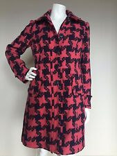 NWT BODEN Sz US 10 Pink Navy 100% Wool Long Frayed Coat