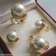 10mm &14mm White South sea Shell Pearl Earrings Ring Necklace Pendant Set AA