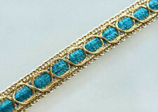 10 Yards. Metallic Trim. Turquoise & Gold. Braid, Ribbon. Faire
