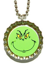 GRINCH FACE CHRISTMAS BOTTLE CAP NECKLACE (CAP021a)