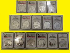 2001-2016 China 10Y 16 Oz Silver Panda 16 Coins Perfect Complete Set Ngc Ms 70