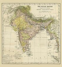 MAP REPRO ANTIQUE HUNTER IMPERIAL GAZETTEER INDIA EMPIRE LARGE ART PRINT LF894