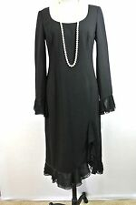 ESCADA black VINTAGE dress RUFFLE SKIRT SLEEVES WOOL Long straight 42/10/L