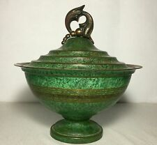 USA Arts & Crafts Painted Bronze Covered Bowl Carl Sorensen Signed Piece 1920's