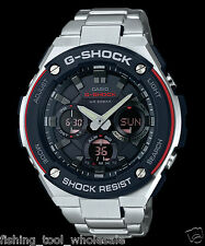 GST-S100D-1A4 Black Red Men's G-shock Watches Stainless Steel Band Tough Solar