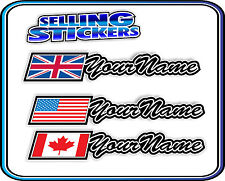 CUSTOM NAME STICKER WITH FLAG SET ROAD CYCLING BIKE BMX MOUNTAIN AVANTI GIANT S4
