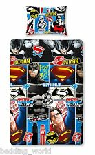 SINGLE BED BATMAN V SUPERMAN CLASH DUVET COVER SET DAWN JUSTICE BLUE RED BLACK