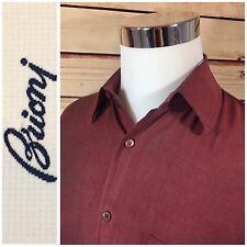 BRIONI Mens 100% Silk Button Dress Casual Shirt Medium Burgundy Made in Italy