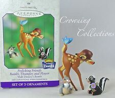 2000 Hallmark Frolicking Friends Disney Ornament Bambi Thumper and Flower Set &