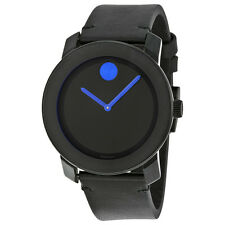 Movado Bold Black Dial Black Leather Band Black Ion-Plated Stainless Steel Case